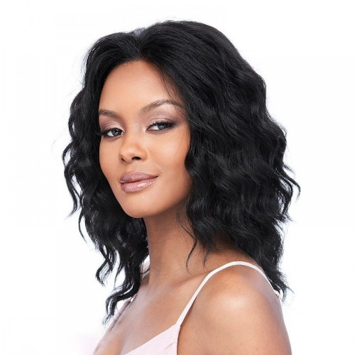 14 Inch Natural Color Indian Remy Hair Natural Wavy Front Lace Wigs PWFU07