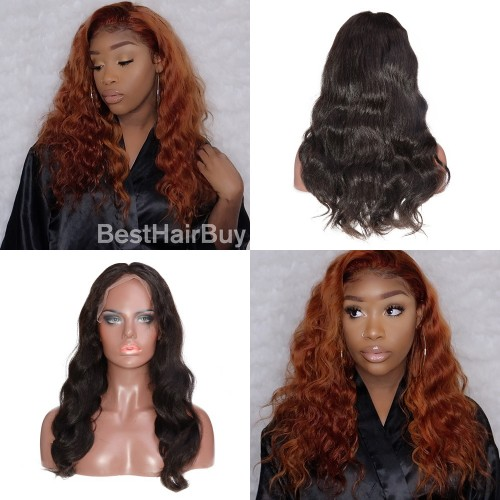 "USA Stock Pre Bleached Knots 13""x 6"" Indian Human Hair Body Wavy Lace Front Wigs"