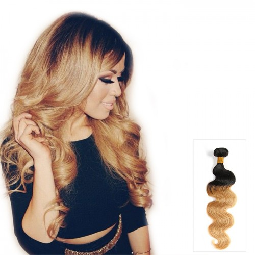 Quality Cheap Body Wave Brazilian Virgin Hair Ombre Weave Two Tone Remy Human Hair Extension 100g Color #1B/27