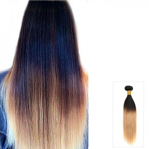 "Indian Straight Remy Human Hair 16""-26"" Ombre Hair Two Tone #1B/27 100g"