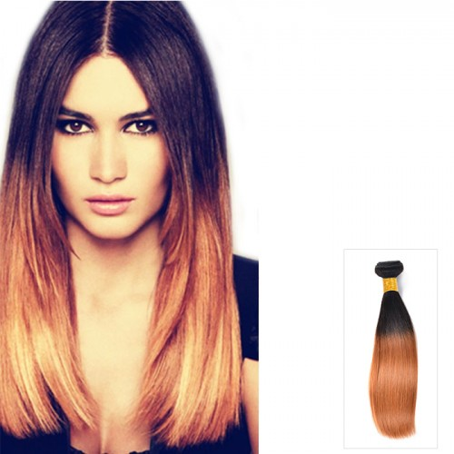 "16"" -26"" Two Tone #1B/30 Ombre Hair Weave Straight Indian Remy Human Hair 100g"