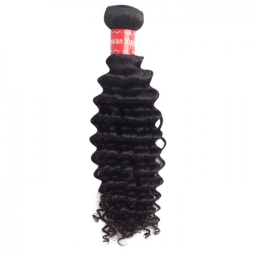 10 Inch - 30 Inch Deep Curly Virgin Malaysian Remy Hair Weave Natural Black 100g