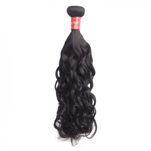 10 Inch - 30 Inch Virgin Malaysian Remy Hair Weft Natural Wavy Natural Black 100g