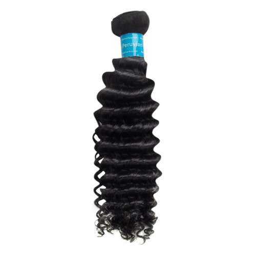 10 Inch - 30 Inch Deep Curly Virgin Peruvian Remy Hair Weave Natural Black 100g