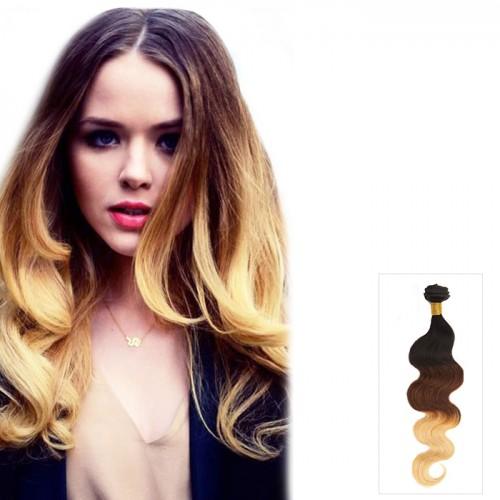 "16""-26"" Three Tone #1B/4/27 Indian Remy Human Hair Body Wavy Ombre Hair 100g"