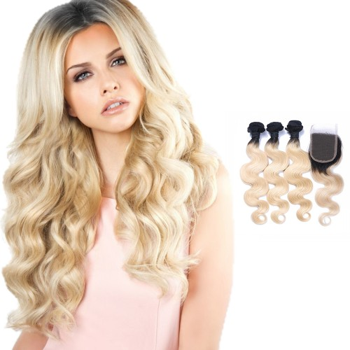 #1B/613 Ombre Hair Closure 1pcs With Brazilian Hair Weave 3pcs Body Wavy