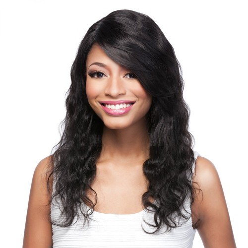 14 Inch #1B Indian Remy Hair Body Wavy Front Lace Wigs PWFU22