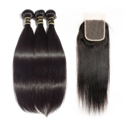 3 Bundles Straight 7A Brazilian Virgin Hair 300g With 4*4 Straight Free Part Closure