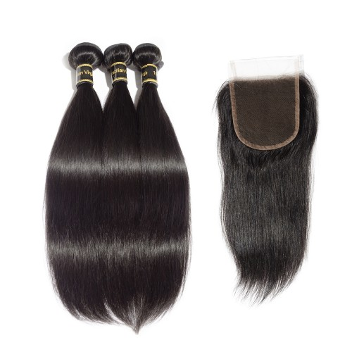 3 Bundles Straight 6A Brazilian Virgin Hair 300g With 4*4 Straight Free Part Closure