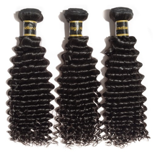 "10""-30"" 3 Bundles Deep Curly 6A Virgin Brazilian Hair Natural Black 300g"