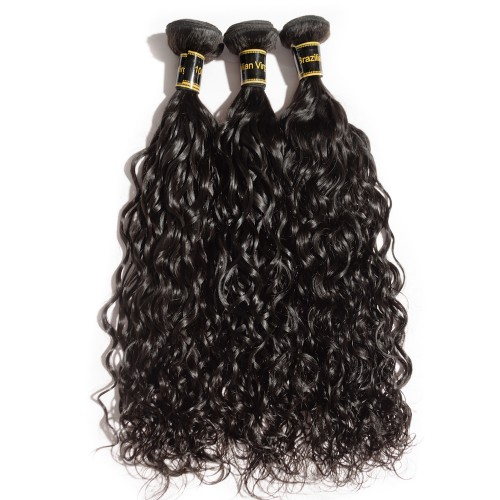 "10""-30"" 3 Bundles Natural Wavy 7A Virgin Brazilian Hair Natural Black 300g"