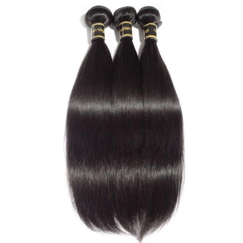 "10""-30"" 3 Bundles Straight 6A Virgin Brazilian Hair Natural Black 300g"