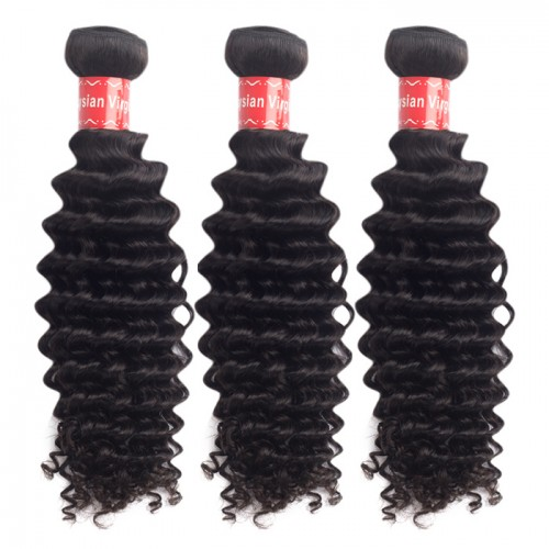 "10""-30"" 3 Bundles Deep Curly Virgin Malaysian Hair Natural Black 300g"
