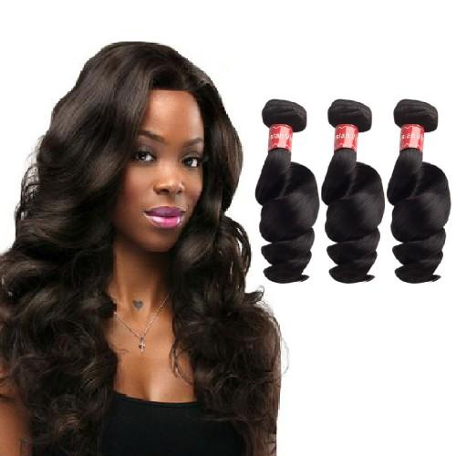 """10""""-30"""" 3 Bundles Loose Wavy Virgin Malaysian Hair Natural Black 300g"""