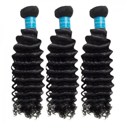 "10""-30"" 3 Bundles Deep Curly Virgin Peruvian Hair Natural Black 300g"