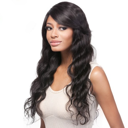 24 Inch Natural Color Indian Remy Hair Body Wavy Front Lace Wigs PWFU34