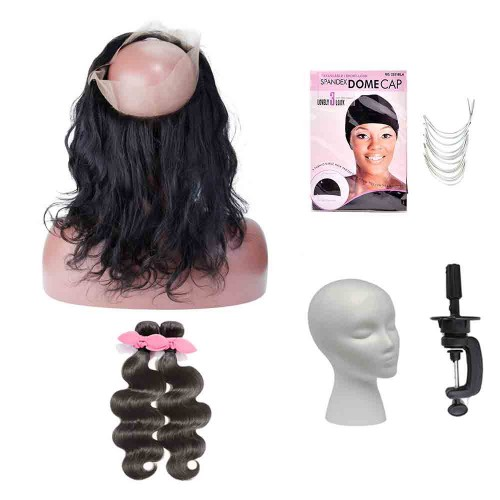 Pre Plucked 360 Lace Frontal with 2 Bundles Body Wavy Hair and Wig Start Kit