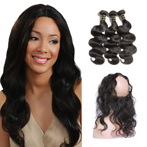 360 Lace Frontal Band with 3 Bundles Body Wavy 6A Brazilian Virgin Hair