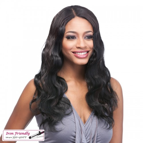 20 Inch Natural Color Indian Remy Hair Body Wavy Front Lace Wigs PWFU38