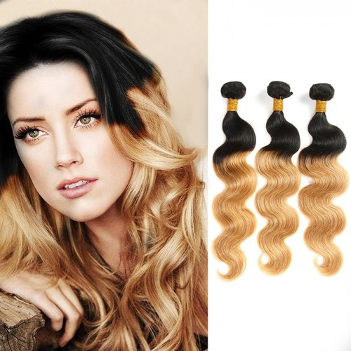 Hot Selling 3pcs/lot Two Tone Ombre Color #1B/27 Body Wavy Brazilian Human Remy Hair weaving Shipping by DHL