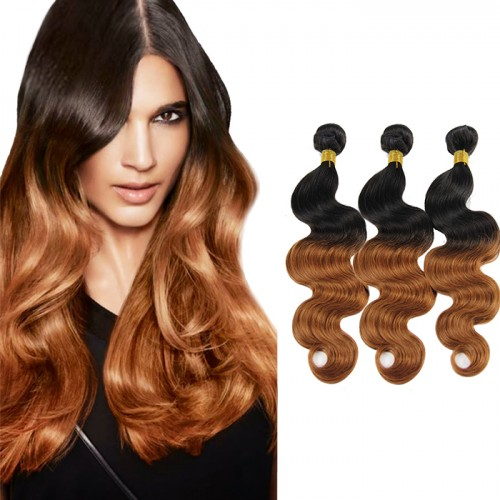 Top Quality Cheap Brazilian Hair 3pcs/lot Ombre Hair Weave With Two Tone Colors #1B/30 Body Wavy Brazilian Hair 300g
