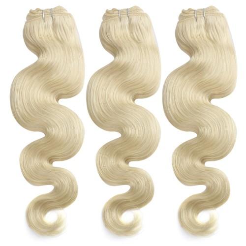 3 Bundles 300g Body Wavy Brazilian Remy Hair #613 Lightest Blonde