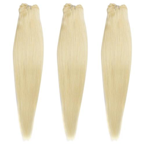 3 Bundles 300g Straight Brazilian Remy Hair #613 Lightest Blonde