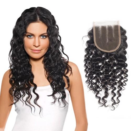 10-20 Inch Virgin Brazlian Hair Deep Curly 4*4 Three Part Lace Top Closure