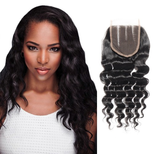 10-20 Inch Virgin Brazlian Hair Loose Wavy 4*4 Three Part Lace Top Closure