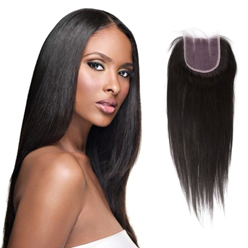 10-20 Inch Virgin Brazilian Hair Straight 4*4 Three Part Lace Top Closure