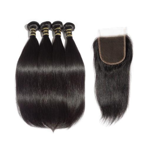 4 Bundles Straight 6A Brazilian Virgin Hair 400g With 4*4 Straight Free Part Closure