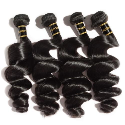 "10""-30"" 4 Bundles Loose Wavy 6A Virgin Brazilian Hair Natural Black 400g"