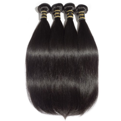 "10""-30"" 4 Bundles Straight 6A Virgin Brazilian Hair Natural Black 400g"