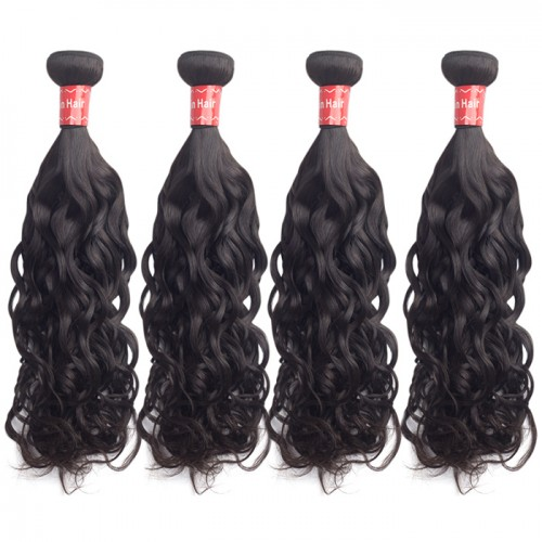 "10""-30"" 4 Bundles Natural Wavy Virgin Malaysian Hair Natural Black 400g"