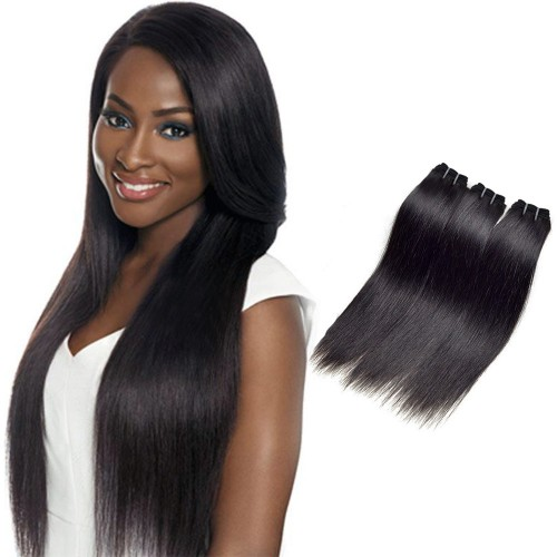 "12""-26"" 3 Bundles Straight Virgin Brazilian Hair Natural Black 180g"