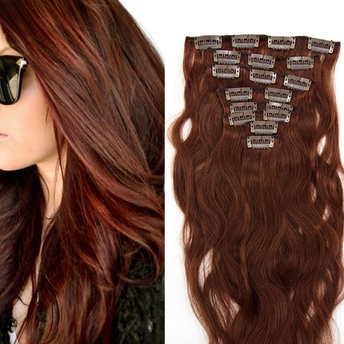 7pcs Body Wavy Clip In Remy Hair Extensions #33 Rich Copper Red