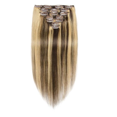 7pcs Straight Clip In Remy Hair Extensions #4/27