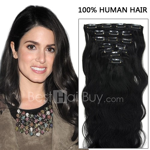 20 Inch 7pcs Luscious Body Wavy Clip In Remy Hair Extensions 70g (#1B Natural Black)