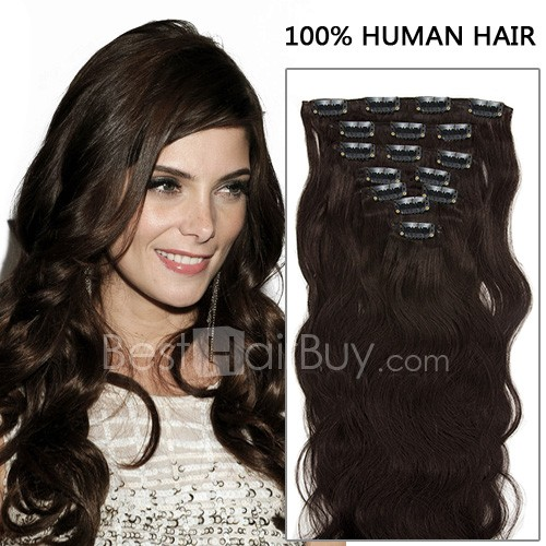20 Inch 7pcs Natural Body Wavy Clip In Remy Hair Extensions 70g (#2 Darkest Brown)