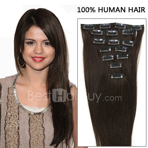 20 Inch 7pcs Awe-Inspiring Straight Clip In Remy Hair Extensions 70g (#2 Darkest Brown)
