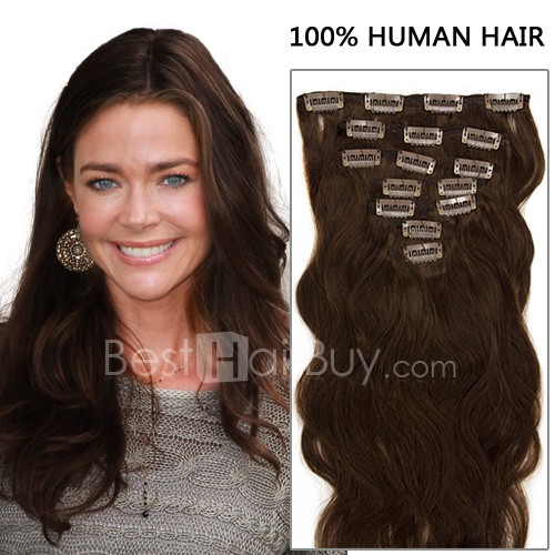 20 Inch 7pcs Gorgeous Body Wavy Clip In Remy Hair Extensions 70g (#4 Chocolate Brown)