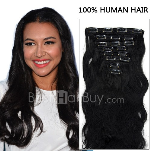 16 Inch 8pcs Competitive Body Wavy Clip In Remy Human Hair Extensions 100g (#1B Natural Black)