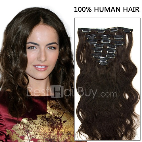 20 Inch 8pcs Bargain Body Wavy Clip In Remy Hair Extensions 120g (#2 Darkest Brown)