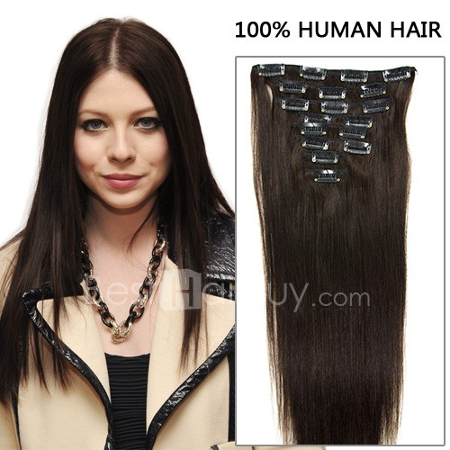 22 Inch 8pcs Glamorous Straight Clip In Remy Hair Extensions 120g (#2 Darkest Brown)