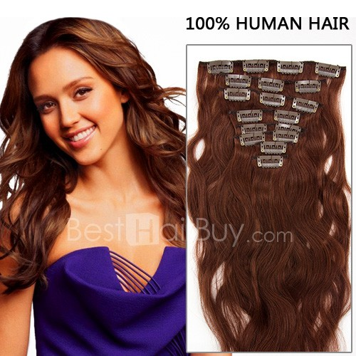 26 Inch 8pcs Body Wavy Clip In Remy Human Hair Extensions 140g (#33 Rich Copper Red)