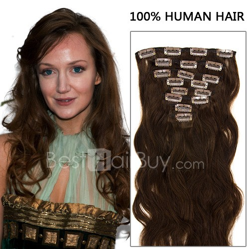 16 Inch 8pcs Exclusive Body Wavy Clip In Remy Human Hair Extensions 100g (#4 Chocolate Brown)