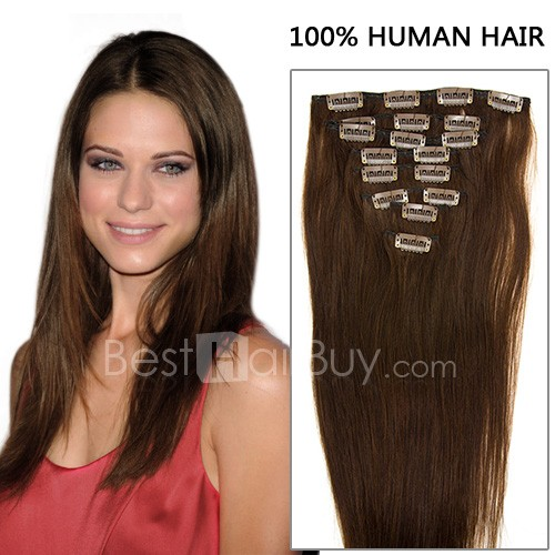 20 Inch 8pcs Charming Straight Clip In Remy Hair Extensions 120g (#4 Chocolate Brown)