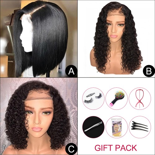 "Virgin Hair Bob Wigs 3-IN-1 (A)10""+(B)10""+(C)10"" With Free Gift"