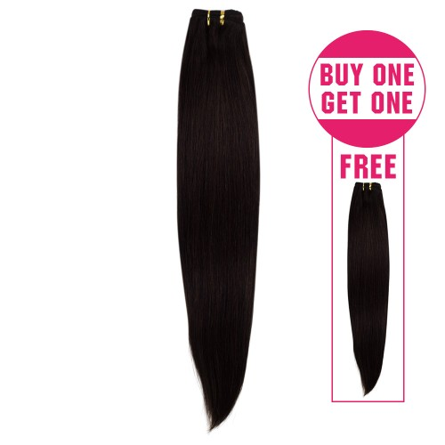 Buy 1 Get 1 Free Straight Brazilian Remy Hair #2 Darkest Brown