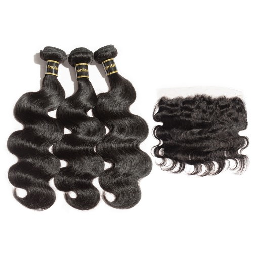 3 Bundles Body Wavy Brazilian Virgin Hair 300g With 13*4 Body Wavy Free Part Closure